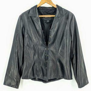 Vakko Grunge Leather Blazer Jacket 90s Biker S
